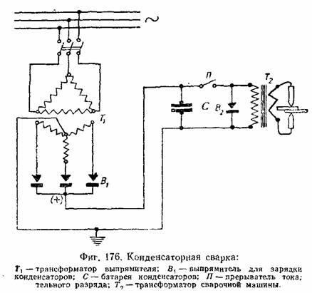 Схема конденсаторной сварки.